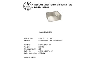 LINER FOR LE GRIDDLE 16″ Technical Facts