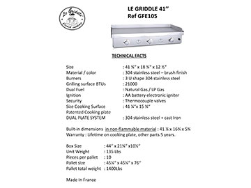 LE GRIDDLE 41″ Technical Facts