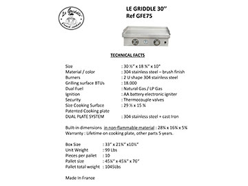 LE GRIDDLE 30″ Technical Facts