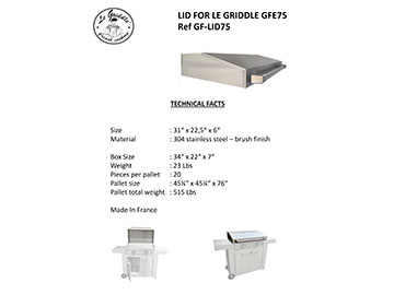 LID FOR LE GRIDDLE 30″ Technical Facts