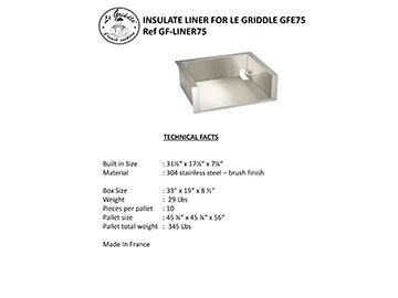 LINER FOR LE GRIDDLE 30″ Technical Facts