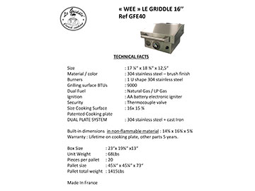 LE GRIDDLE 16″ Technical Facts