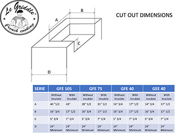 LE GRIDDLE Cut Out Dimensions